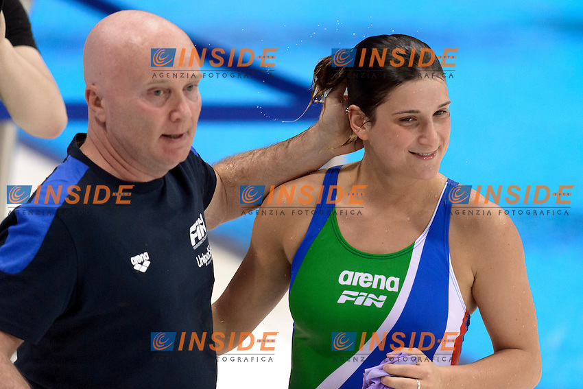 Elena BERTOCCHI ITA <br /> Silver Medal <br /> With trainer Allenatore Dario SCOLA<br /> Women 1m Springboard Final <br /> London, Queen Elizabeth II Olympic Park Pool <br /> LEN 2016 European Aquatics Elite Championships <br /> Diving  <br /> Day 03 11-05-2016<br /> Photo Andrea Staccioli/Deepbluemedia/Insidefoto