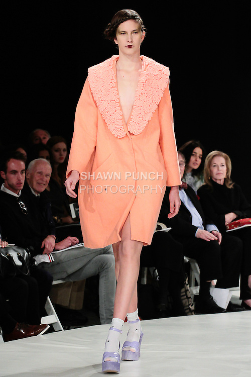 Model walks runway in an outfit by Macy Smith, during the 2013 Pratt Institute Fashion Show, on April 25, 2013.