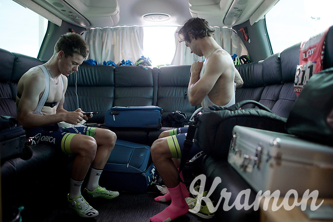 Simon Clarke (AUS/Orica-GreenEDGE) &amp; Michael Matthews (AUS/Orica-GreenEDGE) get ready for the race in the back of the teambus. As roommates in this Giro, they also occupy places 1 &amp; 2 in the GC with 'Bling' Matthews in the Maglia Rosa.<br /> By the end of the day Simon would be the new race leader and keep the pink jersey in the same (hotel)room.<br /> <br /> 2015 Giro<br /> st4: Chiavari - La Spezia (150km)