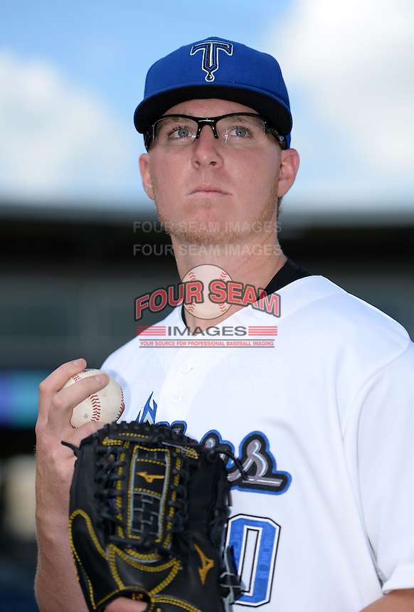 Tulsa Drillers pitcher Jon Gray (50) poses for a photo before a game against the Midland RockHounds on May 31, 2014 at ONEOK Field in Tulsa, Oklahoma.  Tulsa defeated Midland 5-3.  (Mike Janes/Four Seam Images)