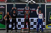 Race 2, Platinum Masters Podium, #68 Topp Racing, Porsche 991 / 2017, GT3P: Jeff Mosing (M), #20 Wright Motorsports, Porsche 991 / 2019, GT3P: Fred Poordad (M), #99 Kelly-Moss/AM Motorsports, Porsche 991 / 2019, GT3P: Alan Metni (M)
