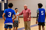 WATERBURY, CT. 05 December 2018-120518 - Crosby High Head basketball coach Nick Augelli teaches his players basic techniques during pre season practice before the start of the 2018-2019 season at Crosby High School in Waterbury on Wednesday. Bill Shettle Republican-American
