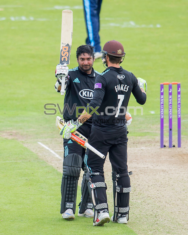 Picture by Allan McKenzie/SWpix.com - 13/06/2017 - Cricket - Royal London One-Day Cup - Yorkshire County Cricket Club v Surrey County Cricket Club - Headingley Cricket Ground, Leeds, England - Kumar Sangakkara celebnrates his century against Yorkshire.