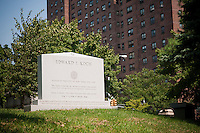 The tombstone of former NYC Mayor Edward I. Koch, who is not dead yet, in the Trinity Church Cemetery and Mausoleum in the New York neighborhood Washington Heights, seen on Thursday, September 2, 2010. Koch wanted to be buried in Manhattan and the historic graveyard, dating back to 1843 is the only active cemetery left in Manhattan. (©Richard B. Levine)