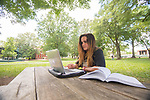 Mallory Robinson studies for a quiz in the Grove.  Photo by Kevin Bain/Ole Miss Communications