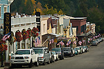 US Flags in front of stores in downtown Nevada City, California