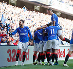 28.09.2018 Rangers v Aberdeen: Connor Goldson and Nikola Katic help Greg Stewart to celebrate his goal