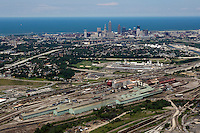 aerial view above Cleveland steel mills downtown Lake Erie Ohio