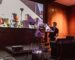 May 18, 2018. Durham, North Carolina.<br />  <br /> Sonic Robots at the 21c Hotel. <br /> <br /> Moogfest 2018 showcases 4 days of music, art and technology spread out amongst venues in and around downtown Durham.
