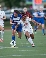 In a National Women's Soccer League Elite (NWSL) match, the Boston Breakers defeated the FC Kansas City, 1-0, at Dilboy Stadium on August 10, 2013.  Boston Breakers forward Sydney Leroux (2) and FC Kansas City midfielder Desiree Scott (11) compete for the ball.