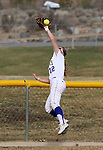 Western Nevada centerfielder Jennie Quam leaps for a deep fly ball during a college softball game against College of Southern Nevada, in Carson City, Nev., on Thursday, March 14, 2013..Photo by Cathleen Allison