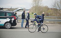 Alex Dowsett (GBR/Movistar) going for a solo breakaway while passing OPQS-manager Patrick Lefevre along the way <br /> <br /> Dwars Door Vlaanderen 2014