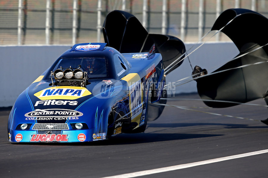 Feb 8, 2014; Pomona, CA, USA; NHRA top alcohol funny car driver John Lombardo Jr during qualifying for the Winternationals at Auto Club Raceway at Pomona. Mandatory Credit: Mark J. Rebilas-