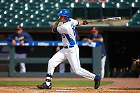 Michael Smiciklas (16) of the Duke Blue Devils follows through on his swing against the Virginia Cavaliers in Game Seven of the 2017 ACC Baseball Championship at Louisville Slugger Field on May 25, 2017 in Louisville, Kentucky. The Blue Devils defeated the Cavaliers 4-3. (Brian Westerholt/Four Seam Images)