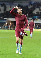 Aston Villa's Conor Hourihane celebrates at the final whistle <br /> <br /> Photographer Ian Cook/CameraSport<br /> <br /> The EFL Sky Bet Championship - Swansea City v Aston Villa - Wednesday 26th December 2018 - Liberty Stadium - Swansea<br /> <br /> World Copyright &copy; 2018 CameraSport. All rights reserved. 43 Linden Ave. Countesthorpe. Leicester. England. LE8 5PG - Tel: +44 (0) 116 277 4147 - admin@camerasport.com - www.camerasport.com