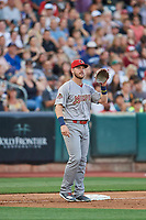 Patrick Wisdom (5) of the Memphis Redbirds on defense against the Salt Lake Bees at Smith's Ballpark on July 24, 2018 in Salt Lake City, Utah. Memphis defeated Salt Lake 14-4. (Stephen Smith/Four Seam Images)