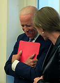 United States Vice President Joseph Biden with UN permanent representative  Samantha Power on right, listens to President Barack Obama  as he holds a bilateral meeting with  United Nations Secretary-General Ban Ki-moon in the Oval Office of the White House in Washington, DC on August 4, 2015.  <br /> Credit: Dennis Brack / Pool via CNP