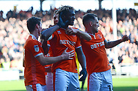 Blackpool's Armand Gnanduillet celebrates scoring his side's first goal <br /> <br /> Photographer Richard Martin-Roberts/CameraSport<br /> <br /> The EFL Sky Bet League One - Blackpool v Southend United - Saturday 9th March 2019 - Bloomfield Road - Blackpool<br /> <br /> World Copyright © 2019 CameraSport. All rights reserved. 43 Linden Ave. Countesthorpe. Leicester. England. LE8 5PG - Tel: +44 (0) 116 277 4147 - admin@camerasport.com - www.camerasport.com