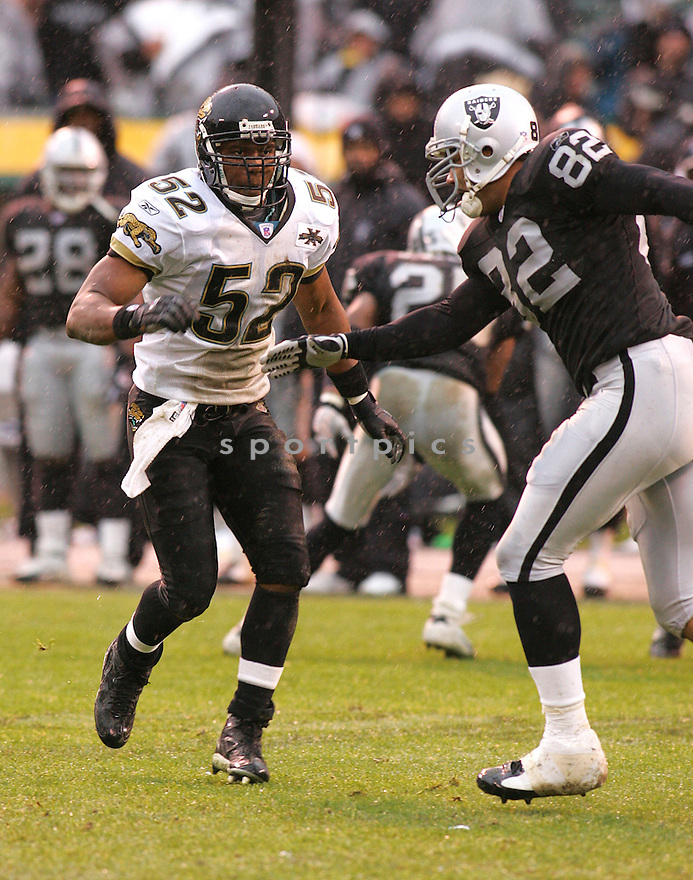 Daryl Smith, of the Jacksonville Jaguars against  the Oakland Raiders on 1/15/05..Jaguars lose 6-13..Rob Holt / SportPics