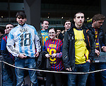 Fans waiting at Barcelona's city centre hotel
