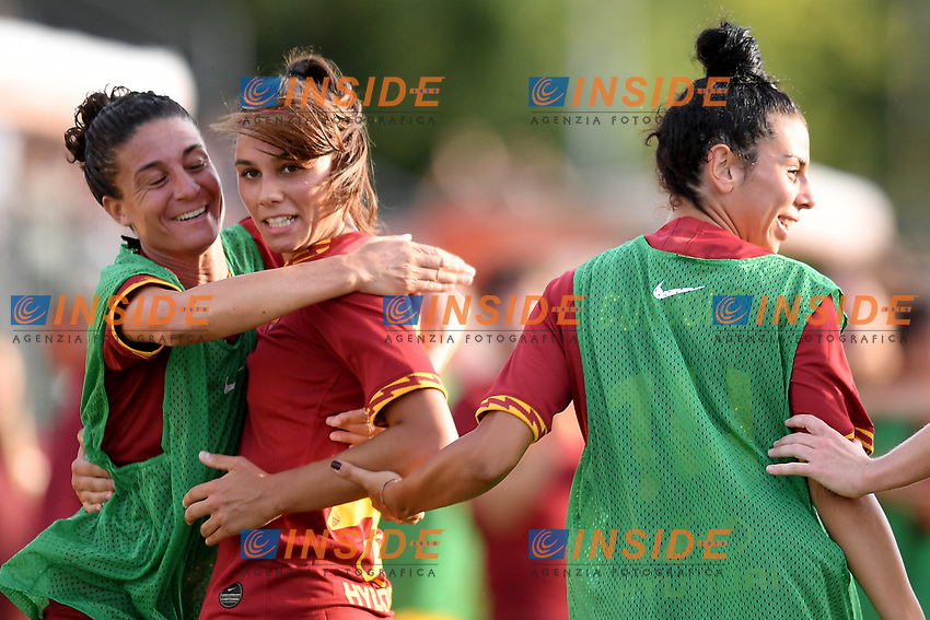 Agnese Bonfantini of AS Roma (2L) celebrates after scoring the goal of 2-2 with Manuela Coluccini <br /> Roma 8/9/2019 Stadio Tre Fontane <br /> Luisa Petrucci Trophy 2019<br /> AS Roma - Paris Saint Germain<br /> Photo Andrea Staccioli / Insidefoto
