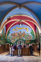 France, Rhône (69), région du Beaujolais, Juliénas, Cellier de la Vieille Église, installé dans l'ancienne église de Juliènas // France, Rhone, Beaujolais region, Julienas, Cellar of the Vieille Eglise, located in the former church of Julienas