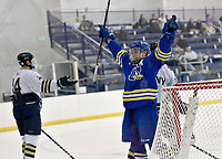 Delaware's Kevin Felice (16) celebrates after a goal. Delaware defeated Navy 8-3 at McMullen Hockey Arena.<br /> <br /> Photo by Randy Litzinger