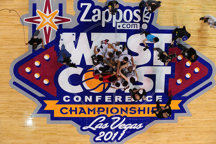 March 6, 2011; Las Vegas, NV, USA; Gonzaga Bulldogs players huddle during the WCC Basketball Championships semifinal game against the San Francisco Dons at Orleans Arena. The Bulldogs defeated the Dons 71-67.