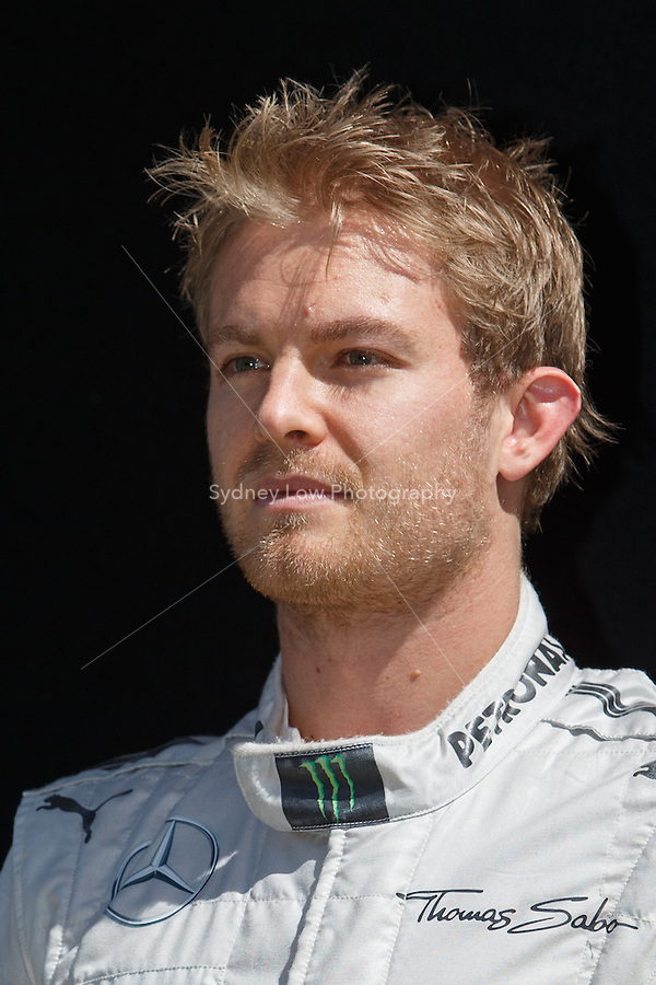 Nico Rosberg (DEU) from the Mercedes AMG Petronas F1 Team  poses for his portrait on day one of the 2013 Formula One Rolex Australian Grand Prix at the Albert Park Circuit in Melbourne, Australia.
