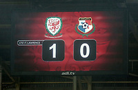 1-0 on the scoreboard during the international friendly soccer match between Wales and Panama at Cardiff City Stadium, Cardiff, Wales, UK. Tuesday 14 November 2017.