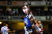 Sam Skinner of Exeter Chiefs claims the ball in the air. Gallagher Premiership match, between Bath Rugby and Exeter Chiefs on October 5, 2018 at the Recreation Ground in Bath, England. Photo by: Patrick Khachfe / Onside Images