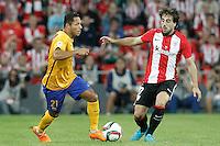 Athletic de Bilbao's Benat Etxebarria (r) and FC Barcelona's Adriano Correia during Supercup of Spain 1st match.August 14,2015. (ALTERPHOTOS/Acero)
