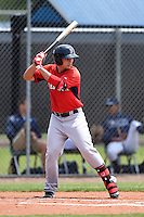 Boston Red Sox minor league first baseman Nick Longhi (30) during an extended spring training game against the Tampa Bay Rays on April 16, 2014 at Charlotte Sports Park in Port Charlotte, Florida.  (Mike Janes/Four Seam Images)
