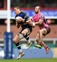 James Wilson of Bath Rugby beats James Short of Exeter Chiefs for the ball in the air. Anglo-Welsh Cup Final, between Bath Rugby and Exeter Chiefs on March 30, 2018 at Kingsholm Stadium in Gloucester, England. Photo by: Patrick Khachfe / Onside Images
