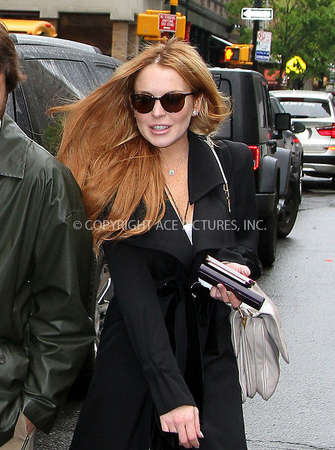 WWW.ACEPIXS.COM . . . . .....May 2 2012, New York City....Actress Lindsay Lohan left her doiwntown hotel on May 2 2012 in New York City....Please byline: Zelig Shaul - ACE PICTURES.... *** ***..Ace Pictures, Inc:  ..Philip Vaughan (212) 243-8787 or (646) 769 0430..e-mail: info@acepixs.com..web: http://www.acepixs.com