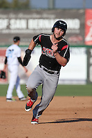 Michael Gettys (23) of the Lake Elsinore Storm runs the bases during a game against the Inland Empire 66ers at San Manuel Stadium on July 31, 2016 in San Bernardino, California. Inland Empire defeated Lake Elsinore, 8-7. (Larry Goren/Four Seam Images)