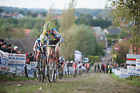 Koppenbergcross 2013<br /> <br /> Delia Beddis (GBR) on the famous Koppenberg cobbles