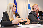 Luxembourg - 07 June 2019 -- Maria Ohisalo, Minister for Home Affairs of Finland at the EU-Council meeting, during her press briefing with Mr. Salmi. -- PHOTO: Juha ROININEN / EUP-IMAGES