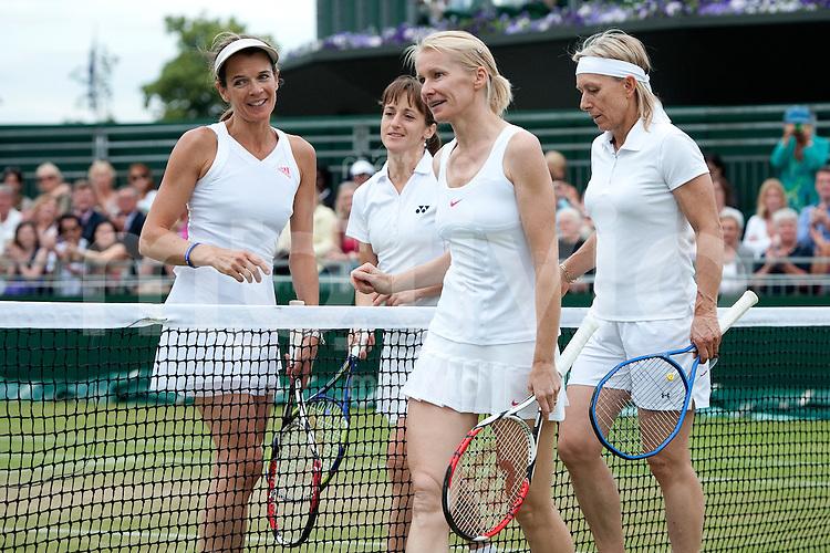 Martina Navratilova (USA) and Jana Novotna (CZE) play against Annabel Croft (GBR) and Magdalena Maleeva (BUL) on Court 12. The Wimbledon Championships 2010 The All England Lawn Tennis & Croquet Club  Day 10 Thursday 01/07/2010