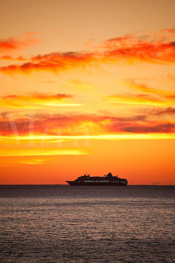Cruise ship at sea, Atlantic Ocean