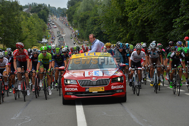 The peloton prepare for the start of Stage 8 of the 2015 Tour de France running 181.5km from Rennes to Mur de Bretagne, France. 10th July 2015.<br /> Photo: ASO/B.Bade/Newsfile
