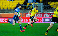 Beauden Barrett heads for the tryline during the Super Rugby Aotearoa match between the Hurricanes and Blues at Sky Stadium in Wellington, New Zealand on Saturday, 18 July 2020. Photo: Dave Lintott / lintottphoto.co.nz