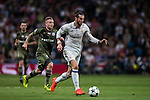 Gareth Bale (r) of Real Madrid battles for the ball with Thibault Moulin of Legia Warszawa during the 2016-17 UEFA Champions League match between Real Madrid and Legia Warszawa at the Santiago Bernabeu Stadium on 18 October 2016 in Madrid, Spain. Photo by Diego Gonzalez Souto / Power Sport Images