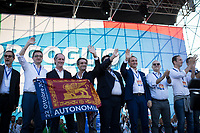 """Presidents of Regions and local politicians of the centre-right coalition.<br /> <br /> Rome, 19/10/2019. Today, tens thousands of people (200,000 for the organisers, 50,000 for the police) gathered in Piazza San Giovanni to attend the national demonstration """"Orgoglio Italiano"""" (Italian Pride) of the far-right party Lega (League) of Matteo Salvini. The demonstration was supported by Silvio Berlusconi's party Forza Italia and Giorgia Meloni's party Fratelli d'Italia (Brothers of Italy, right-wing).  <br /> The aim of the rally was to protest against the Italian coalition Government (AKA Governo Conte II, Conte's Second Government, Governo Giallo-Rosso, 1.) lead by Professor Giuseppe Conte. The 66th Government of Italy is a coalition between Five Star Movement (M5S, 2.), Democratic Party (PD – Center Left, 3.), and Liberi e Uguali (LeU – Left, 4.), these last two parties replaced Lega / League as new members of a coalition based on Parliamentarian majority as stated in the Italian Constitution. The Governo Conte I (Conte's First Government, 5.) was 14-month-old when, between 8 and 9 of August 2019, collapsed after the Interior Minister Matteo Salvini withdrew his euroskeptic, anti-migrant, right-wing Lega / League (6.) from the populist coalition in a pindaric attempt (miserably failed) to trigger a snap election.<br /> <br /> Footnotes & Links:<br /> 1. http://bit.do/feK6N<br /> 2. http://bit.do/e7JLx<br /> 3. http://bit.do/e7JKy<br /> 4. http://bit.do/e7JMP<br /> 5. http://bit.do/e7JH7<br /> 6. http://bit.do/eE7Ey<br /> https://www.leganord.org<br /> http://bit.do/feK9X (Source, TheGuardian.com)<br /> Reportage: """"La Fabbrica Della Paura"""" (The Factory of Fear): http://bit.do/feLcy (Source Report, Rai.it - ITA)<br /> (Update) Reportage: """"La Fabbrica Social Della Paura"""" (The Social Network Factory of Fear): http://bit.do/fe8Pn (Source Report, Rai.it - ITA)"""
