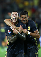 Calcio, Serie A: Frosinone-Juventus, Benito Stirpe stadium, Frosinone, September 23, 2018. <br /> Juventus' Federico Bernardeschi (l) celebrates after scoring with his teammate Cristiano Ronaldo (r) during the Italian Serie A football match between Frosinone and Juventus at Frosinone stadium on September 23, 2018.<br /> UPDATE IMAGES PRESS/Isabella Bonotto