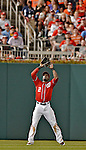19 May 2012: Washington Nationals outfielder Roger Bernadina pulls in a fly ball during game action against the Baltimore Orioles at Nationals Park in Washington, DC. The Orioles defeated the Nationals 6-5 in the second game of their 3-game series. Mandatory Credit: Ed Wolfstein Photo