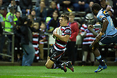 Piers Francis goes in to score a try. . The game of Three Halves, a pre-season warm-up game between the Counties Manukau Steelers, Northland and the All Blacks, played at ECOLight Stadium, Pukekohe, on Friday August 12th 2016. Photo by Richard Spranger.