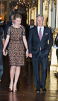 King Philippe and Queen Mathilde of Belgium offer a fall concert at the Palace in Brussels - Belgium