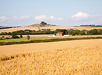 Summer landscape in the Vale of Pewsey view north east to Woodborough Hill, near Alton Barnes, Wiltshire, England