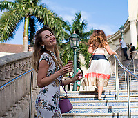 HALLANDALE BEACH, FL - JANUARY 27: A woman enjoys a drink on Pegasus World Cup Invitational Day at Gulfstream Park Race Track on January 27, 2018 in Hallandale Beach, Florida. (Photo by Scott Serio/Eclipse Sportswire/Getty Images)